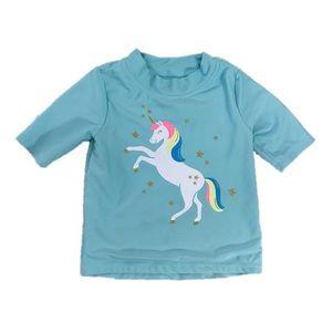 Carter's Teal Girls Unicorn Swim Top, Size 6/6X